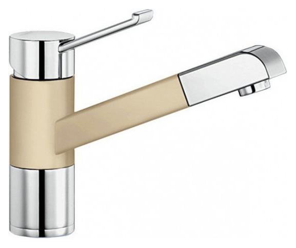 Zenos-S 517824 Хром/ШампаньСмесители<br>Blanko Zenos-S 517824. Однорычажный смеситель для кухни с выдвижным изливом, рычаг переключения расположен вверху над изливом. Шланг выдвижного излива в металлической оплетке. Сочетает хромированную поверхность и инновационный материал Silgranit, цвет хром/шампань. Керамический картридж. Гибкая подводка стандарта 3/8. Допустимая толщина столешницы: 55 мм. Длина излива: 177 мм. Высота излива: 119,5 мм. Вращение излива на 140 градусов. Запатентованный рассекатель, уменьшающий отложения налета от воды. Защита от обратного потока, встроенные обратные клапаны. Стабилизирующая пластина для увеличения устойчивости смесителя. Возможно комплектовать фильтром (117752) и защитной рамкой для шлангов смесителя (511920).<br>