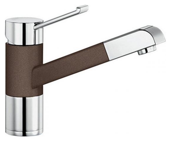 Zenos-S 517827 Хром/КофеСмесители<br>Blanko Zenos-S 517827. Однорычажный смеситель для кухни с выдвижным изливом, рычаг переключения расположен вверху над изливом. Шланг выдвижного излива в металлической оплетке. Сочетает хромированную поверхность и инновационный материал Silgranit, цвет хром/кофе. Керамический картридж. Гибкая подводка стандарта 3/8. Допустимая толщина столешницы: 55 мм. Длина излива: 177 мм. Высота излива: 119,5 мм. Вращение излива на 140 градусов. Запатентованный рассекатель, уменьшающий отложения налета от воды. Защита от обратного потока, встроенные обратные клапаны. Стабилизирующая пластина для увеличения устойчивости смесителя.<br>