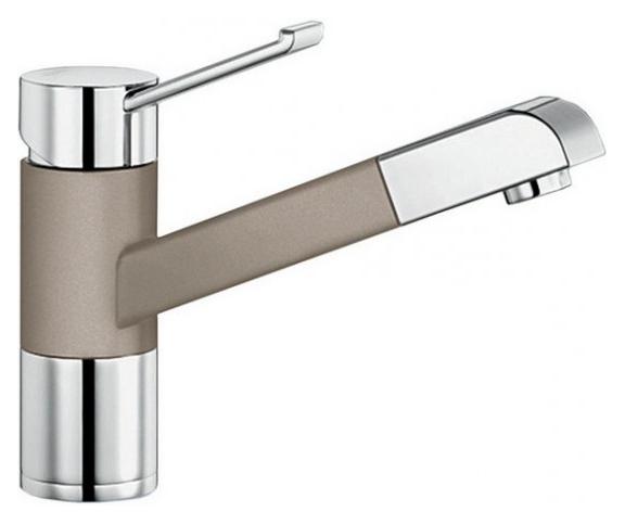 Zenos-S 517828 Хром/Серый бежСмесители<br>Blanko Zenos-S 517828. Однорычажный смеситель для кухни с выдвижным изливом, рычаг переключения расположен вверху над изливом. Шланг выдвижного излива в металлической оплетке. Сочетает хромированную поверхность и инновационный материал Silgranit, цвет хром/серый беж. Керамический картридж. Гибкая подводка стандарта 3/8. Допустимая толщина столешницы: 55 мм. Длина излива: 177 мм. Высота излива: 119,5 мм. Вращение излива на 140 градусов. Запатентованный рассекатель, уменьшающий отложения налета от воды. Защита от обратного потока, встроенные обратные клапаны. Стабилизирующая пластина для увеличения устойчивости смесителя.<br>