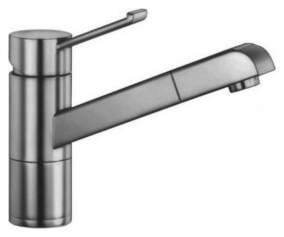 Zenos-S 517818 Нержавеющая стальСмесители<br>Blanko Zenos-S 517818. Однорычажный смеситель для кухни с выдвижным изливом, рычаг переключения расположен вверху над изливом. Шланг выдвижного излива в металлической оплетке. Цвет нержавеющая сталь. Керамический картридж. Гибкая подводка стандарта 3/8. Допустимая толщина столешницы: 55 мм. Длина излива: 177 мм. Высота излива: 119,5 мм. Вращение излива на 140 градусов. Запатентованный рассекатель, уменьшающий отложения налета от воды. Защита от обратного потока, встроенные обратные клапаны. Стабилизирующая пластина для увеличения устойчивости смесителя.<br>