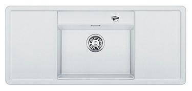 Alaros 6 S 516560 БелыйКухонные мойки<br>Кухонная мойка Blanco Alaros 6 S 516560 встраиваемая, прямоугольная, 1 чаша по центру, 2 крыла. Глубина чаши 205 мм. Монтаж вровень со столешницей. Для установки в шкаф шириной от 60 см. 5 размеченных отверстий для смесителя или аксессуаров. Материал SILGRANIT PuraDur 2, перелив система C-overflow, система PuraDur 2 против грязи и налета на поверхности мойки, система против царапин на поверхности мойки. В комплекте разделочная доска из черного безопасного стекла.<br>