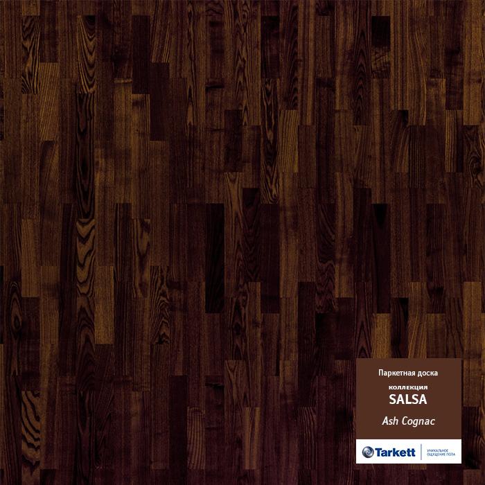 Паркетная доска Tarkett Salsa 3-х полосная Ясень Коньяк Глянец 2283х192х14 мм