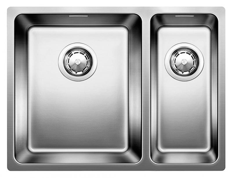 Andano 340/180-U 518321 Нержавеющая сталь с зеркальной полировкойКухонные мойки<br>Кухонная мойка Blanco Andano 340/180-U 518321 встраиваемая, прямоугольная. Монтаж подстольный. 2 чаши, большая чаша слева, глубина большой чаши 190 мм, глубина маленькой чаши 130 мм.  Для установки в шкаф шириной от 600 мм. Материал нержавеющая cтaль 18/10 c зepкaльнoй пoлиpoвкoй. Большой объем и максимальная полезная площадь дна чаши. В комплекте корзинчатый вентиль.<br>