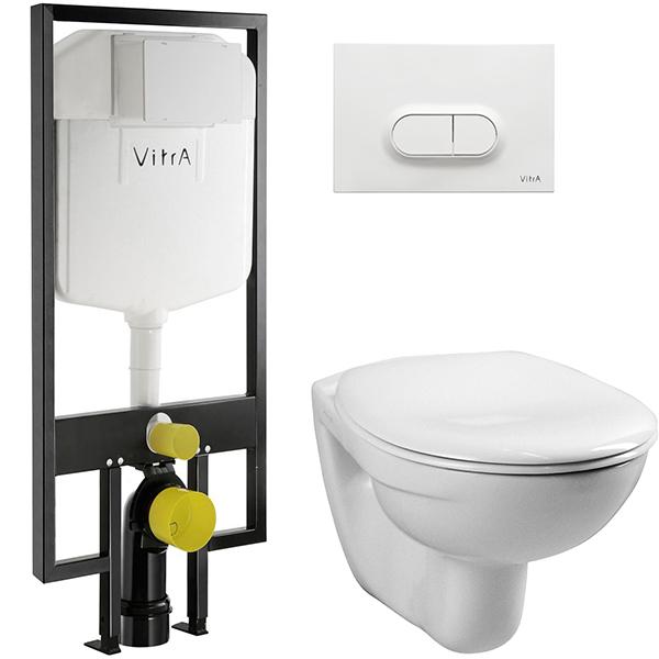 Комплект унитаза с инсталляцией Vitra Normus 9773B003-7201 с сиденьем и кнопкой смыва Белой