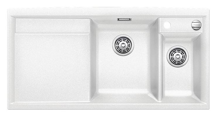 Axia II 6-S 516822 БелыйКухонные мойки<br>Кухонная мойка Blanco Axia II 6-S 516822 накладная, прямоугольная, 2 чаши, 1 крыло. Монтаж на столешницу. Для установки в шкаф шириной от 600 мм. Чаша большая (185 мм) по центру, небольшая (130 мм) чаша с отдельным стоком для просушивания столовых приборов справа. В чашу устанавливается перфорированный коландер. 3 размеченных отверстия для смесителя или аксессуаров. Материал Silgranit PuraDur 2, система PuraDur 2 против грязи и налета на поверхности мойки, система против царапин на поверхности мойки. Отводная арматура с автоматическим клапаном 3 1/2 для большой чаши, отводная арматура с корзинчатым вентилем 1 1/2 для маленькой чаши. Профиль для вертикального хранения разделочной доски. Разделочная доска скользящая из безопасного стекла в комплекте.<br>