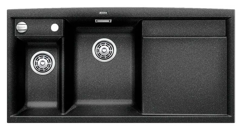 Axia II 6-S 516828 АнтрацитКухонные мойки<br>Кухонная мойка Blanco Axia II 6-S 516828 накладная, прямоугольная, 2 чаши, 1 крыло. Монтаж на столешницу. Для установки в шкаф шириной от 600 мм. Чаша большая (185 мм) по центру, небольшая (130 мм)  чаша с отдельным стоком для просушивания столовых приборов слева. В чашу устанавливается перфорированный коландер. 3 размеченных отверстия для смесителя или аксессуаров. Материал Silgranit PuraDur 2, система PuraDur 2 против грязи и налета на поверхности мойки, система против царапин на поверхности мойки. Отводная арматура с автоматическим клапаном 3 1/2 для большой чаши, отводная арматура с корзинчатым вентилем 1 1/2 для маленькой чаши. Профиль для вертикального хранения разделочной доски. Разделочная доска скользящая из безопасного стекла в комплекте.<br>