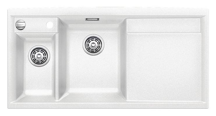 Axia II 6-S 516832 БелыйКухонные мойки<br>Кухонная мойка Blanco Axia II 6-S 516832 накладная, прямоугольная, 2 чаши, 1 крыло. Монтаж на столешницу. Для установки в шкаф шириной от 600 мм. Чаша большая (185 мм) по центру, небольшая (130 мм) дополнительная чаша с отдельным стоком для просушивания столовых приборов слева. В чашу устанавливается перфорированный коландер. 3 размеченных отверстия для смесителя или аксессуаров. Материал Silgranit PuraDur 2, система PuraDur 2 против грязи и налета на поверхности мойки, система против царапин на поверхности мойки. Отводная арматура с автоматическим клапаном 3 1/2 для большой чаши, отводная арматура с корзинчатым вентилем 1 1/2 для маленькой чаши. Профиль для вертикального хранения разделочной доски. Разделочная доска скользящая из безопасного стекла в комплекте.<br>
