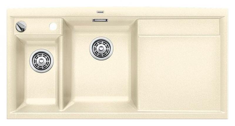 Axia II 6-S 516833 ЖасминКухонные мойки<br>Кухонная мойка Blanco Axia II 6-S 516833 накладная, прямоугольная, 2 чаши, 1 крыло. Монтаж на столешницу. Для установки в шкаф шириной от 600 мм. Чаша большая (185 мм) по центру, небольшая (130 мм) дополнительная чаша с отдельным стоком для просушивания столовых приборов слева. В чашу устанавливается перфорированный коландер. 3 размеченных отверстия для смесителя или аксессуаров. Материал Silgranit PuraDur 2, система PuraDur 2 против грязи и налета на поверхности мойки, система против царапин на поверхности мойки. Отводная арматура с автоматическим клапаном 3 1/2 для большой чаши, отводная арматура с корзинчатым вентилем 1 1/2 для маленькой чаши. Профиль для вертикального хранения разделочной доски. Разделочная доска скользящая из безопасного стекла в комплекте.<br>