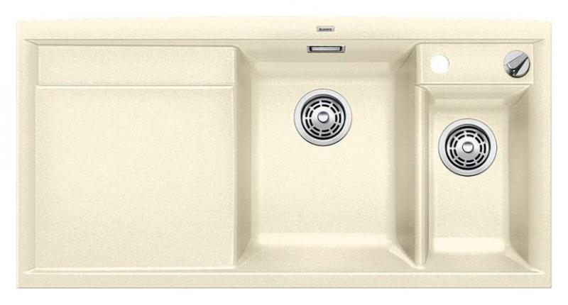 Axia II 6-S-F 516878 ЖасминКухонные мойки<br>Кухонная мойка Blanco Axia II 6-S-F 516878 встраиваемая, прямоугольная, 2 чаши, 1 крыло. Монтаж вровень со столешницей. Для установки в шкаф шириной от 600 мм. Чаша большая (185 мм) по центру, небольшая (130 мм) дополнительная чаша с отдельным стоком для просушивания столовых приборов справа. В чашу устанавливается перфорированный коландер. 3 размеченных отверстия для смесителя или аксессуаров. Материал Silgranit PuraDur 2, система PuraDur 2 против грязи и налета на поверхности мойки, система против царапин на поверхности мойки. Отводная арматура с автоматическим клапаном 3 1/2 для большой чаши, отводная арматура с корзинчатым вентилем 1 1/2 для маленькой чаши. Профиль для вертикального хранения разделочной доски. Разделочная доска скользящая из безопасного стекла в комплекте.<br>