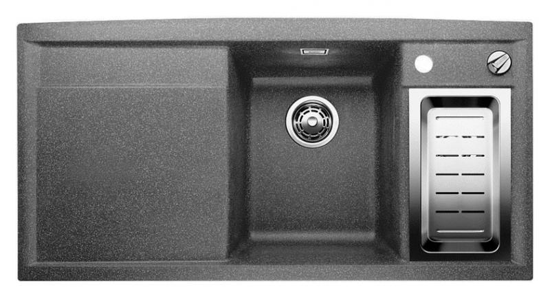Axia II 6-S-F 516876 АлюметалликКухонные мойки<br>Кухонная мойка Blanco Axia II 6-S-F 516876 встраиваемая, прямоугольная, 2 чаши, 1 крыло. Монтаж вровень со столешницей. Для установки в шкаф шириной от 600 мм. Чаша большая (185 мм) по центру, небольшая (130 мм)  чаша с отдельным стоком для просушивания столовых приборов справа. В чашу устанавливается перфорированный коландер. 3 размеченных отверстия для смесителя или аксессуаров. Материал Silgranit PuraDur 2, система PuraDur 2 против грязи и налета на поверхности мойки, система против царапин на поверхности мойки. Отводная арматура с автоматическим клапаном 3 1/2 для большой чаши, отводная арматура с корзинчатым вентилем 1 1/2 для маленькой чаши. Профиль для вертикального хранения разделочной доски. Разделочная доска скользящая из безопасного стекла в комплекте.<br>