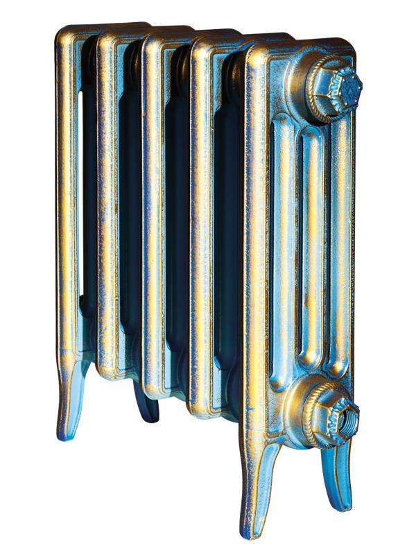 Derby 300 x1Радиаторы отопления<br>Стоимость указана за 1 секцию. Чугунный секционный радиатор RETROstyle Derby 300 455x60x135 мм с боковым подключением. Межосевое расстояние - 300 мм. Радиаторы поставляются покрытые грунтовкой выбранного цвета. Дополнительно могут быть окрашены в один из цветов палитры RAL (глянец), NCS (матовый), комбинированная (основной цвет + акцент на узорах), покраска с патинацией (old gold; old silver, old cupper) и дизайнерское декорирование. Установочный комплект приобретается дополнительно.<br>