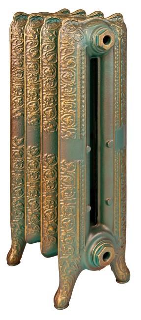Reading 500 x10Радиаторы отопления<br>Стоимость указана за 10 секций. Чугунный секционный радиатор RETROstyle Reading 500 660x760x204 мм с боковым подключением. Межосевое расстояние - 500 мм. Радиаторы поставляются покрытые грунтовкой выбранного цвета. Дополнительно могут быть окрашены в один из цветов палитры RAL (глянец), NCS (матовый), комбинированный (основной цвет + акцент на узорах), покраска с патинацией (old gold; old silver, old cupper) и дизайнерское декорирование. Установочный комплект приобретается дополнительно.<br>