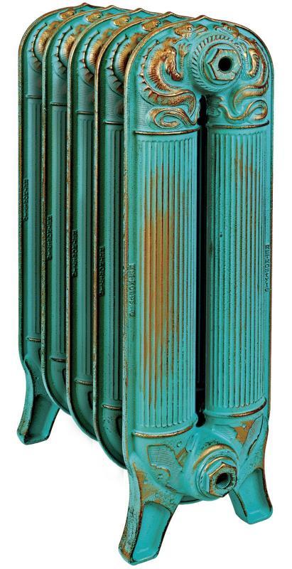 Barton 560 x5Радиаторы отопления<br>Стоимость указана за 5 секций. Чугунный секционный радиатор RETROstyle Barton 560 730x400x220 мм с боковым подключением. Межосевое расстояние - 560 мм. Радиаторы поставляются покрытые грунтовкой выбранного цвета. Дополнительно могут быть окрашены в один из цветов палитры RAL (глянец), NCS (матовый), комбинированная (основной цвет + акцент на узорах), покраска с патинацией (old gold; old silver, old cupper) и дизайнерское декорирование. Установочный комплект приобретается дополнительно.<br>