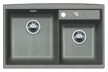 Axia II 8 516883 АлюметалликКухонные мойки<br>Кухонная мойка Blanco Axia II 8 516883 накладная, прямоугольная, 2 чаши,  Монтаж на столешницу. Для установки в шкаф шириной от 800 мм. 3 размеченных отверстия для смесителя или аксессуаров. Материал Silgranit PuraDur 2, перелив система C-overflow, система PuraDur 2 против грязи и налета на поверхности мойки, система против царапин на поверхности мойки. Отводная арматура с двумя корзинчатыми вентилями 3 1/2, автоматический клапан 3 1/2 для большой чаши.<br>
