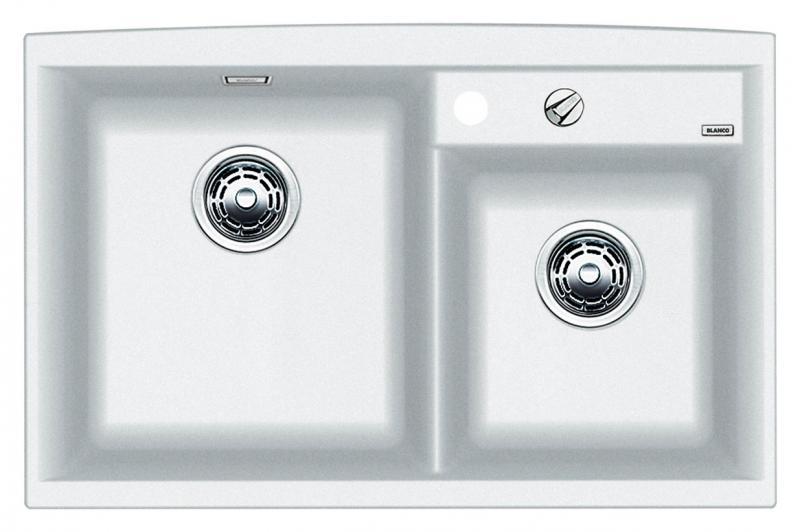 Axia II 8 516886 БелыйКухонные мойки<br>Кухонная мойка Blanco Axia II 8 516886 накладная, прямоугольная, 2 чаши,  Монтаж на столешницу. Для установки в шкаф шириной от 800 мм. 3 размеченных отверстия для смесителя или аксессуаров. Материал Silgranit PuraDur 2, перелив система C-overflow, система PuraDur 2 против грязи и налета на поверхности мойки, система против царапин на поверхности мойки. Отводная арматура с двумя корзинчатыми вентилями 3 1/2, автоматический клапан 3 1/2 для большой чаши.<br>