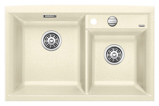 Axia II 8 516887 ЖасминКухонные мойки<br>Кухонная мойка Blanco Axia II 8 516887 накладная, прямоугольная, 2 чаши,  Монтаж на столешницу. Для установки в шкаф шириной от 800 мм. 3 размеченных отверстия для смесителя или аксессуаров. Материал Silgranit PuraDur 2, перелив система C-overflow, система PuraDur 2 против грязи и налета на поверхности мойки, система против царапин на поверхности мойки. Отводная арматура с двумя корзинчатыми вентилями 3 1/2, автоматический клапан 3 1/2 для большой чаши.<br>