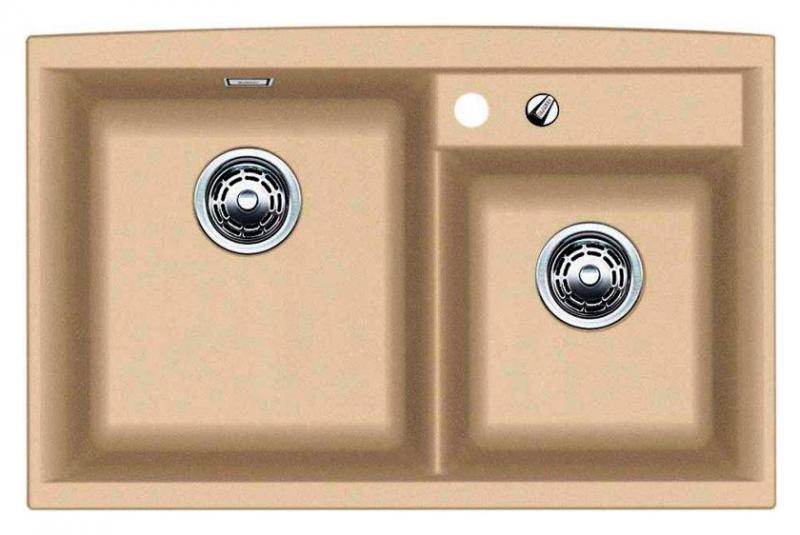 Axia II 8 516888 ШампаньКухонные мойки<br>Кухонная мойка Blanco Axia II 8 516888 накладная, прямоугольная, 2 чаши,  Монтаж на столешницу. Для установки в шкаф шириной от 800 мм. 3 размеченных отверстия для смесителя или аксессуаров. Материал Silgranit PuraDur 2, перелив система C-overflow, система PuraDur 2 против грязи и налета на поверхности мойки, система против царапин на поверхности мойки. Отводная арматура с двумя корзинчатыми вентилями 3 1/2, автоматический клапан 3 1/2 для большой чаши.<br>