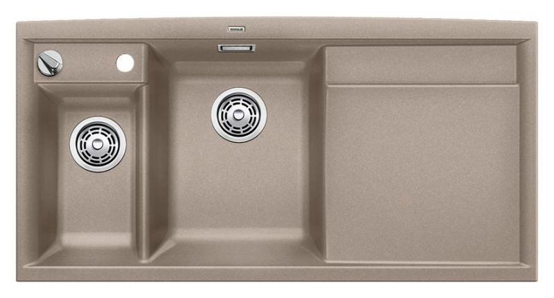 Axia II 6-S 517290 Серый бежКухонные мойки<br>Кухонная мойка Blanco Axia II 6-S 517290 накладная, прямоугольная, 2 чаши, 1 крыло. Монтаж на столешницу. Для установки в шкаф шириной от 600 мм. Чаша большая (185 мм) по центру, небольшая (130 мм)  чаша с отдельным стоком для просушивания столовых приборов слева. В чашу устанавливается перфорированный коландер. 3 размеченных отверстия для смесителя или аксессуаров. Материал Silgranit PuraDur 2, система PuraDur 2 против грязи и налета на поверхности мойки, система против царапин на поверхности мойки. Отводная арматура с автоматическим клапаном 3 1/2 для большой чаши, отводная арматура с корзинчатым вентилем 1 1/2 для маленькой чаши. Профиль для вертикального хранения разделочной доски. Разделочная доска скользящая из безопасного стекла в комплекте.<br>