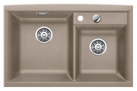 Axia II 8 517296 Серый бежКухонные мойки<br>Кухонная мойка Blanco Axia II 8 517296 накладная, прямоугольная, 2 чаши,  Большая чаша слева. Монтаж на столешницу. Для установки в шкаф шириной от 800 мм. Материал Silgranit PuraDur 2, перелив система C-overflow, система PuraDur 2 против грязи и налета на поверхности мойки, система против царапин на поверхности мойки. Отводная арматура с двумя корзинчатыми вентилями 3 1/2, клапан-автомат для основной чаши. Профиль для вертикального хранения разделочной доски.<br>