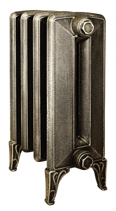 Bohemia 450 x4Радиаторы отопления<br>Стоимость указана за 4 секции. Чугунный секционный радиатор RETROstyle Bohemia 450/220 без узора 640x344x225 мм с боковым подключением. Межосевое расстояние - 450 мм. Радиаторы поставляются покрытые грунтовкой выбранного цвета. Дополнительно могут быть окрашены в один из цветов палитры RAL (глянец), NCS (матовый), комбинированная (основной цвет + акцент на узорах), покраска с патинацией (old gold; old silver, old cupper) и дизайнерское декорирование. Установочный комплект приобретается дополнительно.<br>