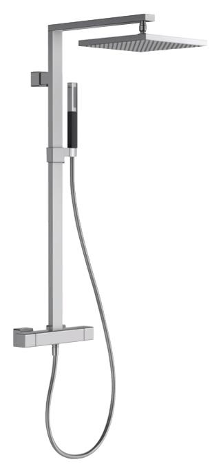 Strayt E98321-CP  ХромДушевые системы<br>Душевая система с термостатом для душа Jacob Delafon Strayt E98321-CP. Гибкий нескручивающийся шланг. 2-х режимный ручной душ Shift Square, переключатель режимов на ручке контроля расхода воды.<br>