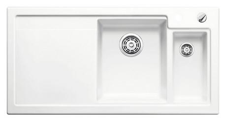 Axon II 6 S 516540 Белая глянцеваяКухонные мойки<br>Кухонная мойка Blanco Axon II 6 S 516540 врезная, прямоугольная, 2 чаши, 1 крыло. Монтаж вровень со столешницей. Чаша большая по центру, маленькая справа. В чашу устанавливается многофункциональный коландер из нержавеющей стали (225681). Глубина чаш 185/140 мм. Для установки в шкаф шириной от 600 мм. Отводная арматура с автоматическим клапаном 3 1/2 для большой чаши, отводная арматура с корзинчатым вентилем 1 1/2 для маленькой чаши. Материал керамика PuraPlus, система PuraPlus против грязи и налета на поверхности мойки, система против царапин на поверхности мойки. Профиль для вертикального хранения разделочной доски. Доска разделочная скользящая из безопасного стекла в комплекте.<br>