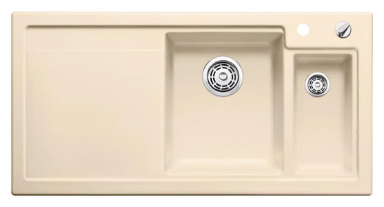 Axon II 6 S 516546 ЖасминКухонные мойки<br>Кухонная мойка Blanco Axon II 6-S 516546 врезная, прямоугольная, 2 чаши, 1 крыло. Монтаж вровень со столешницей. Чаша большая по центру, маленькая справа. В чашу устанавливается многофункциональный коландер из нержавеющей стали (225681). Глубина чаш 185/140 мм. Для установки в шкаф шириной от 600 мм. Отводная арматура с автоматическим клапаном 3 1/2 для большой чаши, отводная арматура с корзинчатым вентилем 1 1/2 для маленькой чаши. Материал керамика PuraPlus, система PuraPlus против грязи и налета на поверхности мойки, система против царапин на поверхности мойки. Профиль для вертикального хранения разделочной доски. Доска разделочная скользящая из серебристого, безопасного стекла 227700 в комплекте.<br>