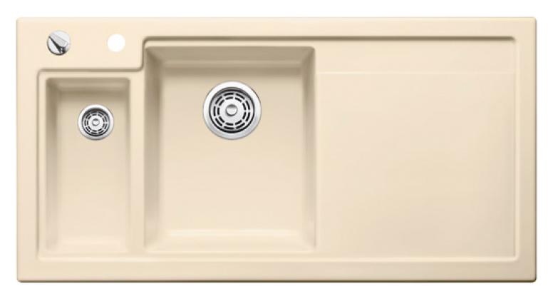 Axon II 6 S 516547 ЖасминКухонные мойки<br>Кухонная мойка Blanco Axon II 6-S 516547 врезная, прямоугольная, 2 чаши, 1 крыло. Монтаж вровень со столешницей. Чаша большая по центру, маленькая слева. В чашу устанавливается многофункциональный коландер из нержавеющей стали (225681). Глубина чаш 185/140 мм. Для установки в шкаф шириной от 600 мм. Отводная арматура с автоматическим клапаном 3 1/2 для большой чаши, отводная арматура с корзинчатым вентилем 1 1/2 для маленькой чаши. Материал керамика PuraPlus, система PuraPlus против грязи и налета на поверхности мойки, система против царапин на поверхности мойки. Профиль для вертикального хранения разделочной доски. Доска разделочная скользящая из серебристого, безопасного стекла 227700. Рекомендуем комплектовать: смесителем. Возможно комплектовать универсальным разделочным столиком (ясень), корзиной для посуды (514238), поддоном (220416) или (223166), дозатором для жидкого моющего средства (512593), накладкой на сливное отверстие (517666), системой сортировки (516571).<br>