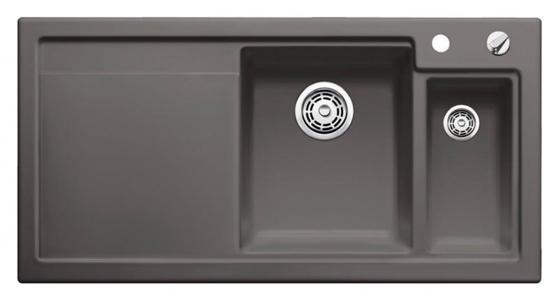 Axon II 6 S 516552 БазальтКухонные мойки<br>Кухонная мойка Blanco Axon II 6-S 516552 врезная, прямоугольная, 2 чаши, 1 крыло. Монтаж вровень со столешницей. Чаша большая по центру, маленькая справа. В чашу устанавливается многофункциональный коландер из нержавеющей стали (225681). Глубина чаш 185/140 мм. Для установки в шкаф шириной от 600 мм. Отводная арматура с автоматическим клапаном 3 1/2 для большой чаши, отводная арматура с корзинчатым вентилем 1 1/2 для маленькой чаши. Материал керамика PuraPlus, система PuraPlus против грязи и налета на поверхности мойки, система против царапин на поверхности мойки. Профиль для вертикального хранения разделочной доски. Доска разделочная скользящая из серебристого, безопасного стекла 227700. Рекомендуем комплектовать: смесителем. Возможно комплектовать универсальным разделочным столиком (ясень), корзиной для посуды (514238), поддоном (220416) или (223166), дозатором для жидкого моющего средства (512593), накладкой на сливное отверстие (517666), системой сортировки (516571).<br>