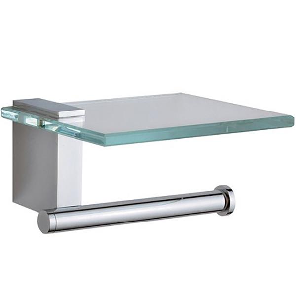 Diagon A44442EXP ХромАксессуары для ванной<br>Держатель для туалетной бумаги с полочкой Vitra Diagon A44442EXP..<br>Современный и лаконичный дизайн изделия дополнит интерьер любой ванной комнаты.<br>Размер: 15x12,5x8 см.<br>Материал: латунь, стекло.<br>