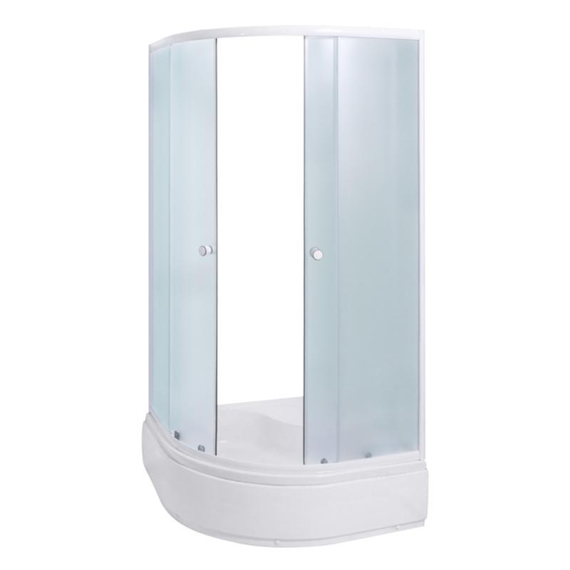 KS-LP-169 YMJ-2010-13 Профиль белыйДушевые ограждения<br>Душевой уголок Aqualux с 2-мя раздвижными стеклянными дверцами, устанавливается на высокий поддон. Стенки и дверцы выполнены из высококачественного стекла, которое отлично выдерживает механические воздействия, практически не царапается и не требует особого ухода. Толщина стекла – 4 мм.<br>