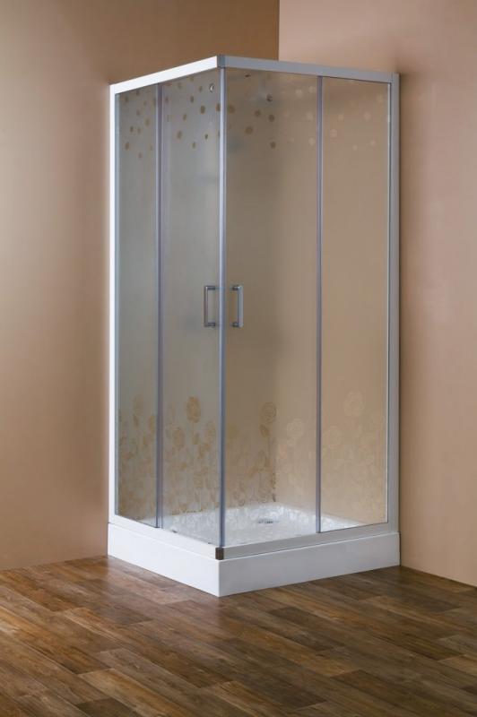 Rosa ROSA-A-2-90-RO-Bi Матовое стеклоДушевые ограждения<br>Душевой уголок Cezares Rosa ROSA-A-2-90-RO-Bi квадратный. Две раздвижные двери с белым магнитным уплотнителем. Матовое стекло 6 мм, с рисунком Rosa. Профиль белый, изготовлен из алюминия<br>