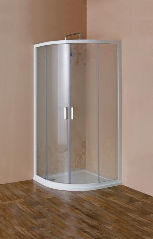 Rosa ROSA-R-2-90-RO-Bi Матовое стеклоДушевые ограждения<br>Душевой уголок Cezares Rosa ROSA-R-2-90-RO-Bi четверть круга, R-550. Две раздвижные двери с белым магнитным уплотнителем. Матовое стекло 6 мм, с рисунком Rosa. Профиль белый, изготовлен из алюминия. Поддон типа R (радиус 550) приобретается отдельно.<br>