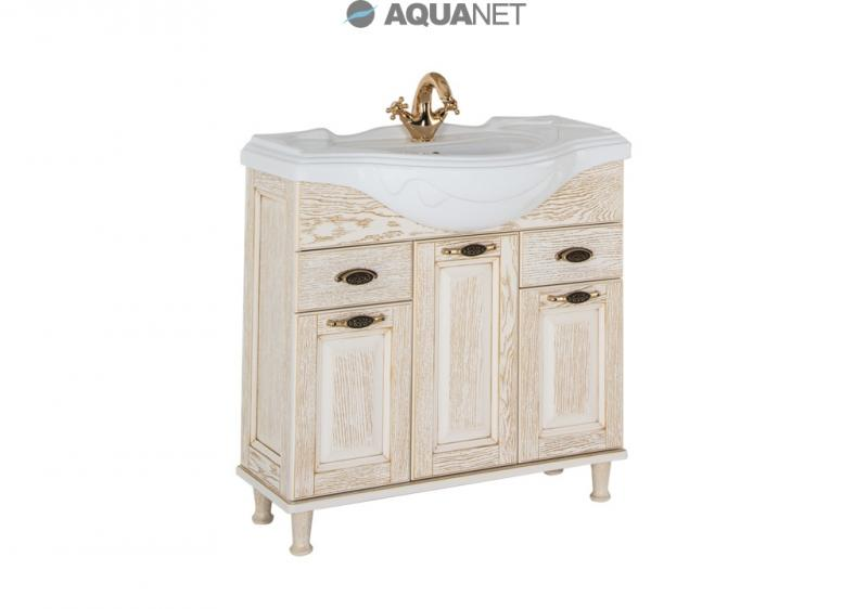 Тесса 85 Жасмин/сереброМебель для ванной<br>Тумба под раковину Aquanet Тесса 85 напольная. 3 распашные дверцы, 2 выдвижных ящика. В комплект поставки входит тумба.<br>