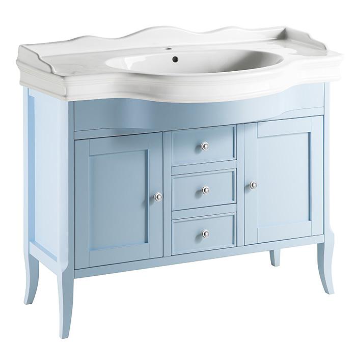 Валенсия 120 ANTICO light vintage (B 043)Мебель для ванной<br>Мебель для ванной Каприго Валенсия 120. В стоимость входит тумба напольная под раковину. С ящиками и двумя распашными дверцами. Размеры – 1120x825x515 мм. Отделка – ANTICO light vintage. Варианты мебельных ручек – В 08, В 13. Размер тумбы с раковиной 1192x996x525 мм.<br>