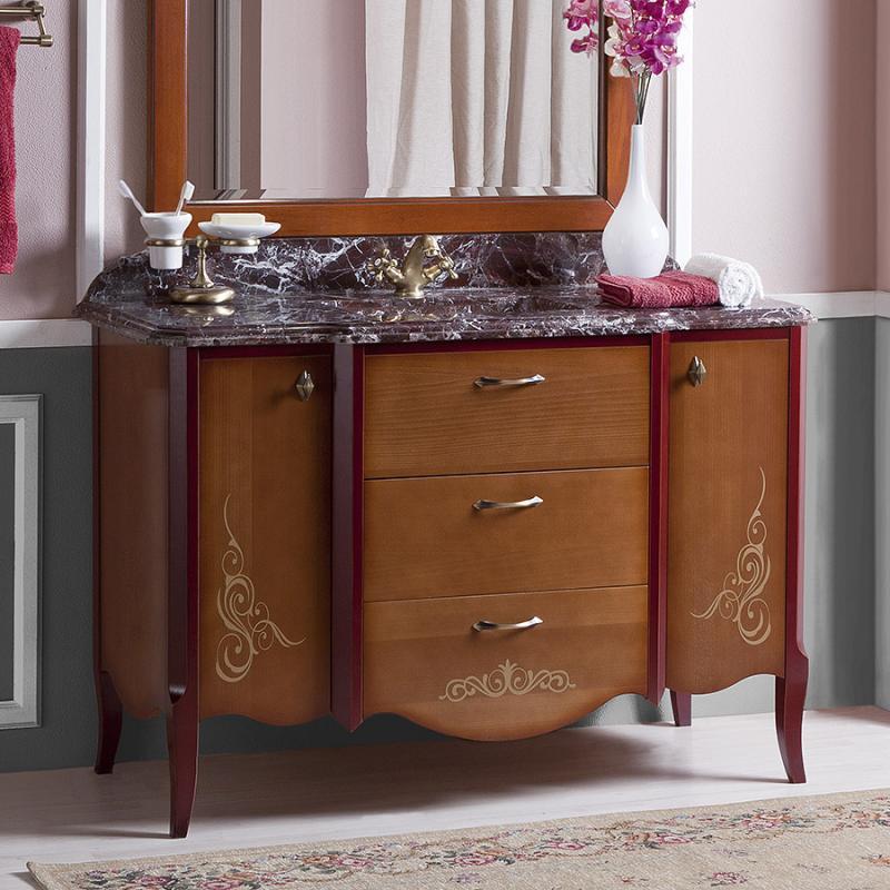 Валенсия 120  ANTICO light vintage (B 043)Мебель для ванной<br>Мебель для ванной Каприго Валенсия 120. Без мраморной столешницы и раковины. В стоимость входит тумба напольная под раковину. С ящиками и двумя распашными дверцами. Размеры – 1200x825x540 мм. Отделка – ANTICO light vintage. Варианты мебельных ручек – V 10, V 11.<br>