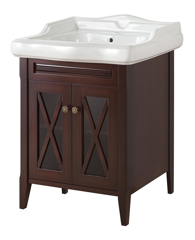 Наполи 70 NOCE SCURO (B 039)Мебель для ванной<br>Мебель для ванной Каприго Наполи 70. В стоимость входит тумба напольная под раковину. Размеры – 576x775x542 мм. Отделка – NOCE SCURO. Варианты мебельных ручек – В 08, В 15, В 16 В. Размер тумбы с раковиной 710x931x552 мм.<br>