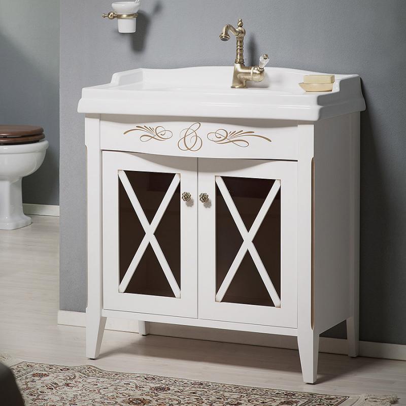 Наполи 80 BIANCO light vintage (B 003)Мебель для ванной<br>Мебель для ванной Каприго Наполи 80. В стоимость входит тумба напольная под раковину. Размеры – 770x775x410 мм. Отделка – BIANCO light vintage. Варианты мебельных ручек – В 08, В 15, В 16 В, В 16 S. Размер тумбы с раковиной 810x920x489 мм.<br>