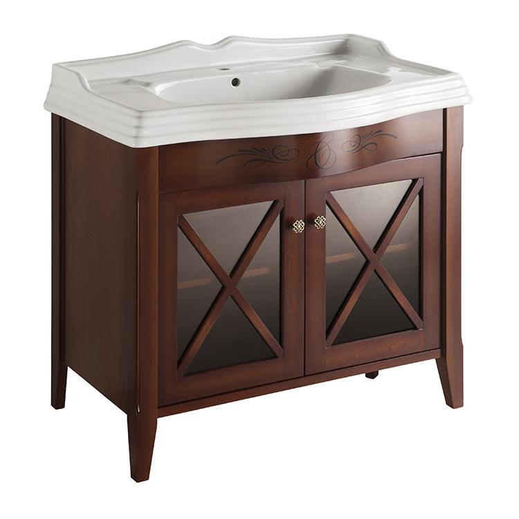 Наполи 90 NOCE SCURO (B 039)Мебель для ванной<br>Мебель для ванной Каприго Наполи 90. В стоимость входит тумба напольная под раковину. Размеры – 870x775x480 мм. Отделка – NOCE SCURO. Варианты мебельных ручек – В 08, В 15, В 16 В, В 16 S. Размер тумбы с раковиной 910x925x564 мм.<br>