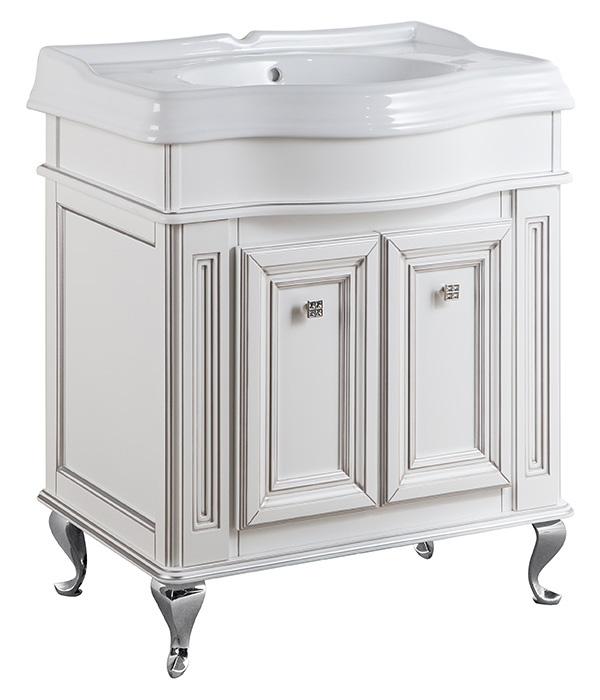 Фреско 80 BIANCO oro caldo (B 017)Мебель для ванной<br>Тумба под раковину Каприго Фреско 80. В стоимость входит тумба напольная под раковину. Размеры – 802x802x495 мм. Отделка – BIANCO oro caldo. Варианты мебельных ручек – L 10B, L 10H.<br>
