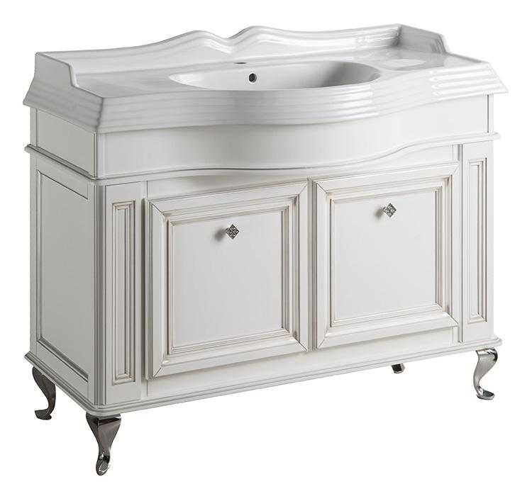 Фреско 90 BIANCO ANTICO (B 002)Мебель для ванной<br>Тумба под раковину Каприго Фреско 90. В стоимость входит тумба напольная под раковину. Размеры – 910x812x510 мм. Отделка – BIANCO ANTICO. Варианты мебельных ручек – L 10B, L 10H.<br>