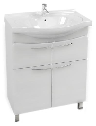 Болония 65 белая глянцеваяМебель для ванной<br>Тумба под раковину Аквалайф Болония 65 с изящными ручками и объемными линиями фасада для комфортной и уютной атмосферы. У тумбы 2 распашные дверцы и 2 ящика. Материал корпуса - влагостойкая ДСП с добавлением парафина, торцы деталей обработаны ламинированной кромкой для дополнительной защиты. Материал фасада - одностороннее ламинированное МДФ повышенной плотности с покрытием высококачественной ПВХ пленкой. Цена указана за тумбу. Все остальное приобретается дополнительно.<br>