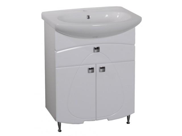 Олива 65 БелаяМебель для ванной<br>Напольная тумба Аквалайф под раковину Лагуна 65. Ножки и ручки цвета хром.  В стоимость  входит только тумба, раковина, зеркальный шкаф и пенал приобретаются отдельно.<br>