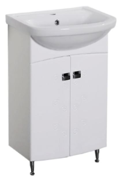 Авила 50 белая глянцевая с орнаментомМебель для ванной<br>Тумба под раковину Аквалайф Авила 50 с экзотическим растительным орнаментом на фасаде из стилизованных бутонов цветов и динамичных линий побегов. У тумбы 2 распашные дверцы. Материал корпуса - влагостойкая ДСП с добавлением парафина, торцы деталей обработаны ламинированной кромкой для дополнительной защиты. Материал фасада - одностороннее ламинированное МДФ повышенной плотности с покрытием высококачественной ПВХ пленкой. Цена указана за тумбу. Все остальное приобретается дополнительно.<br>