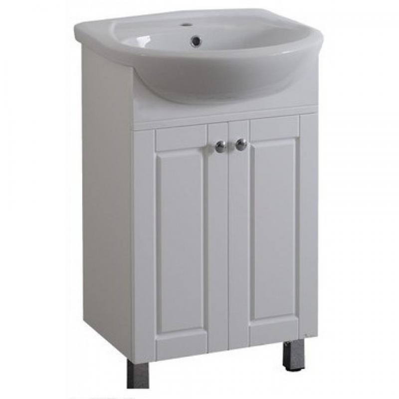 Толедо 55 БелаяМебель для ванной<br>Тумба Аквалайф Толедо 55 на ножках из белого глянца под раковину Erica 55. Фасады: декоративная фрезеровка. Мебель имеет 2 распашные дверцы. В стоимость  входит только тумба, раковина, зеркальный шкаф и пенал приобретаются отдельно.<br>