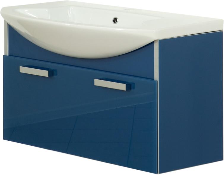 Glass One Estra 90 подвесная ГолубойМебель для ванной<br>В цену входит тумба подвесная Gemelli Glass One Estra 90 подвесная укомплектованная раковиной Logic. Все комплектующие (зеркала, пеналы, полупеналы, полки) приобретаются отдельно.<br>