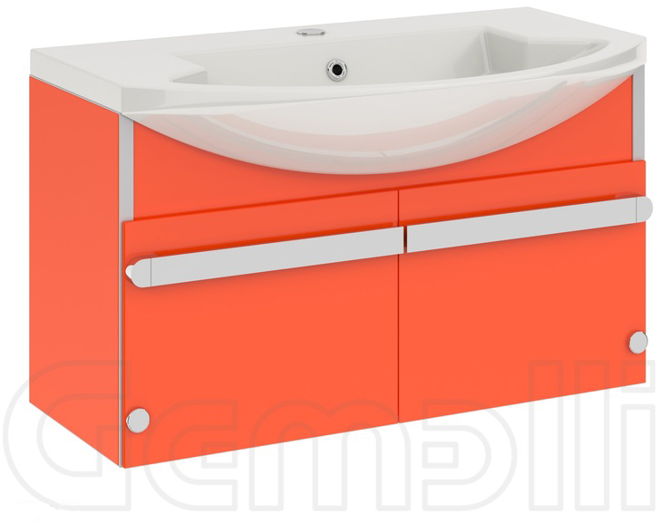 Glass New 108 подвесная ОранжевыйМебель для ванной<br>В цену входит тумба подвесная Gemelli Glass New 108 подвесная укомплектованная раковиной Logic. Все комплектующие (зеркала, пеналы, полупеналы, полки) приобретаются отдельно.<br>