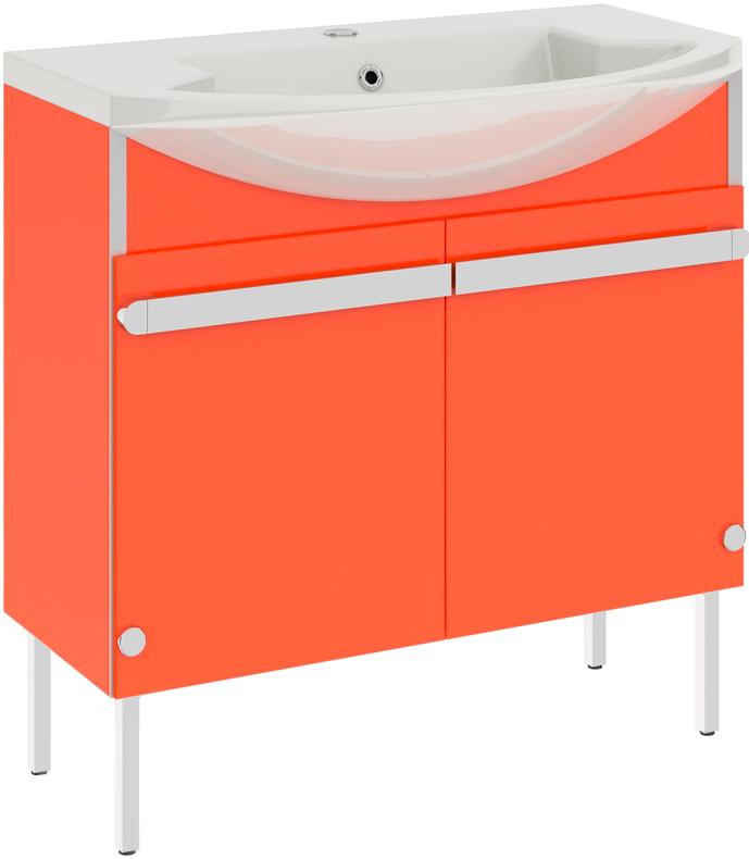 Glass New 108 на ножках ОранжевыйМебель для ванной<br>В цену входит тумба на ножках Gemelli Glass New 108 укомплектованная раковиной Logic. Все комплектующие (зеркала, пеналы, полупеналы, полки) приобретаются отдельно.<br>