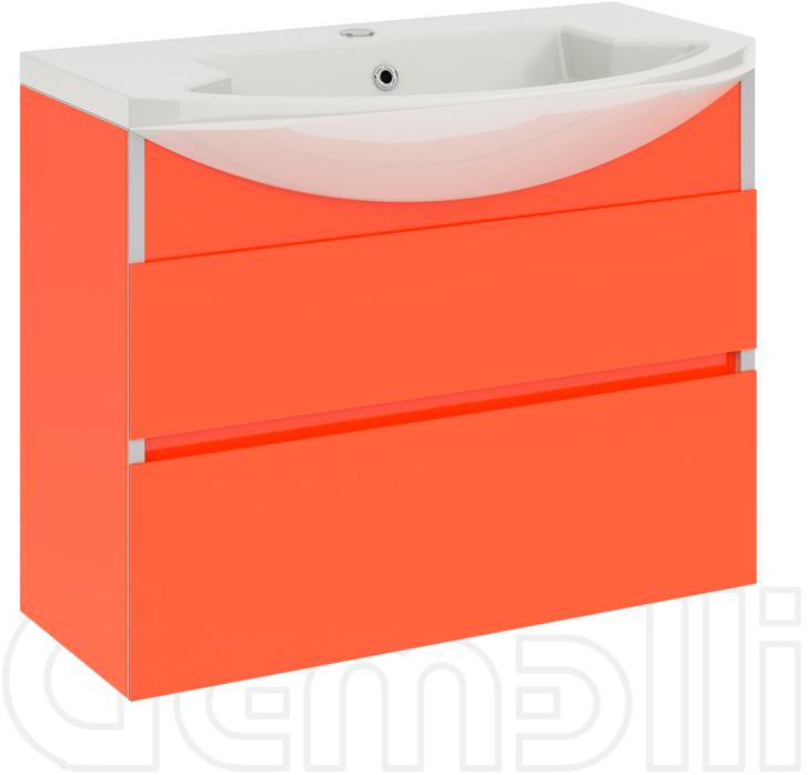 Glass Estra 90 подвесная КрасныйМебель для ванной<br>В цену входит тумба Gemelli Glass Estra 90 подвесная укомплектованная раковиной Logic. Все комплектующие (зеркала, пеналы, полупеналы, полки) приобретаются отдельно.<br>