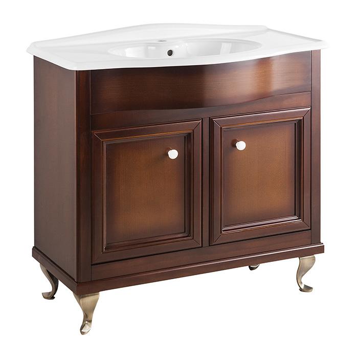 Порто 90 NOCE SCURO (B 039)Мебель для ванной<br>Мебель для ванной Каприго Наполи 90. В стоимость входит тумба напольная под раковину. Размеры – 864x870x434 мм. Ручка – В 12. Отделка – NOCE SCURO. Размер тумбы с раковиной 910x930x465 мм.<br>